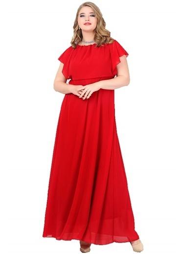 Angelino Butik Büyük Beden Üstü Şifon Uzun Abiye KL7881 Kırmızı